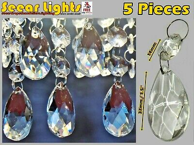 £15.99 • Buy 5 Chandelier Drops Glass Crystals Oval Beads Light Parts Antique Spec Droplets