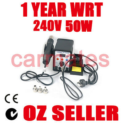 AU89.99 • Buy HOT AIR GUN SOLDERING IRON REWORK SMD STATION 3 Nozzles 1 Tip CE RHOS SYD OZ