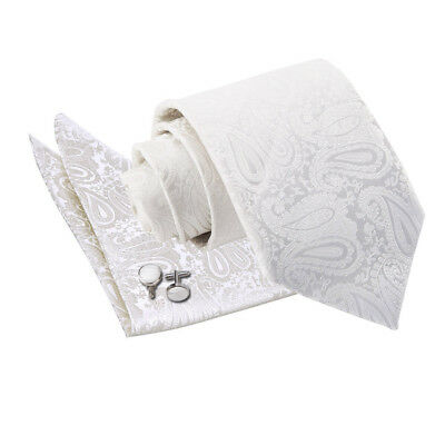 Mens Tie Hanky Cufflinks Set Woven Floral Paisley Ivory Classic Skinny By DQT • 10.99£