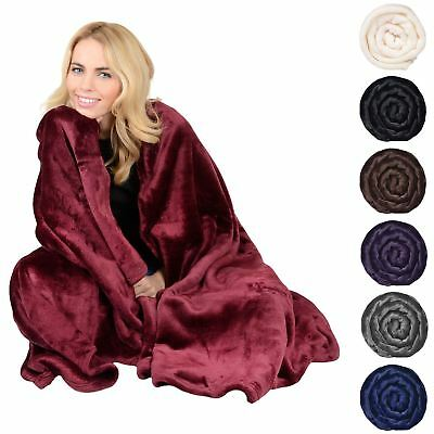 Deluxe Plush Fleece Blanket Soft Cashmere Touch Luxury Warm Home Sofa Bed Throw • 15£