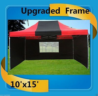$259.99 • Buy 10'x15' Pop Up Canopy Party Tent EZ - Black Red - F Model Upgraded Frame
