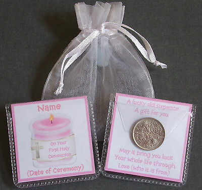 Personalised First Holy Communion Gift Boy Girl Lucky Sixpence Keepsake • 2.25£