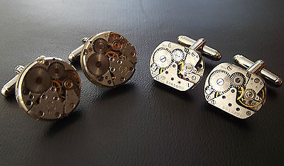 £13.99 • Buy 2 PAIRS Mens Steampunk Watch Movement Vintage Silver Cuff Links Wedding Gift Set