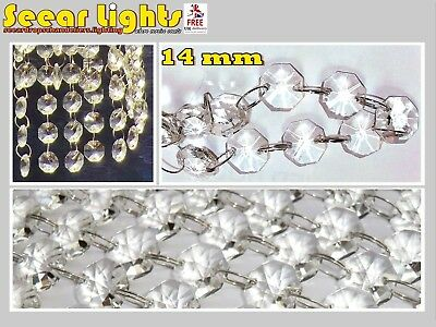 £8.99 • Buy CHANDELIER LIGHT CRYSTALS DROPLETS 2.6ft / 0.8m GLASS BEADS WEDDING DROPS 14MM