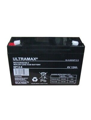 £34.18 • Buy 2 X ULTRAMAX 6V 12Ah NEW Batteries PEG PEREGO, FEBER, INDUSA - ELECTRIC TOY CARS