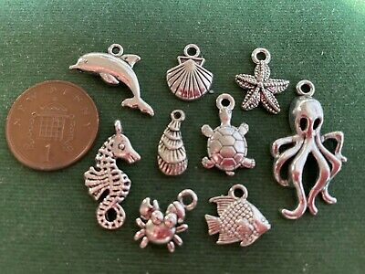 8 Mixed Sea Life Charms - Antique Silver - Star Fish Turtle Seahorse Crab Shell • 2.35£