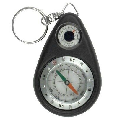 $5.99 • Buy COMPASS + THERMOMETER KEYRING   Survival Emergency Hiking Camping Key Chain