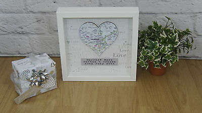 Personalised Map Gift Framed Engagement Wedding Present First Anniversary Home • 23.99£