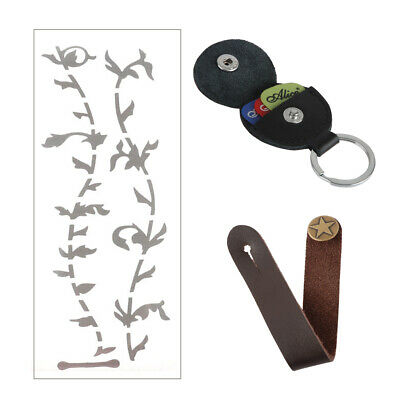 $ CDN9.08 • Buy Leather Guitar Strap Button Hook + Picks Bag + Tree Of Life Guitar Inlay Sticker