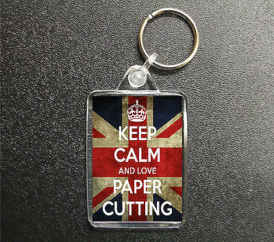 £2.85 • Buy Keep Calm And Love Paper Cutting Keyring Union Jack Bag Tag Fob Gift