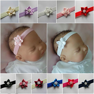 Baby Headband Hairband Soft Elastic Satin Flower Pearls Hair Accessories 4 Sizes • 1.50£
