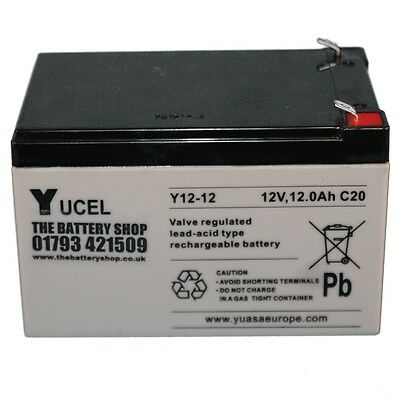 YUCEL Y12-12, 12 Volt 12ah Battery - Cell For Kids Electric Toy Car/ Scooter • 31.99£