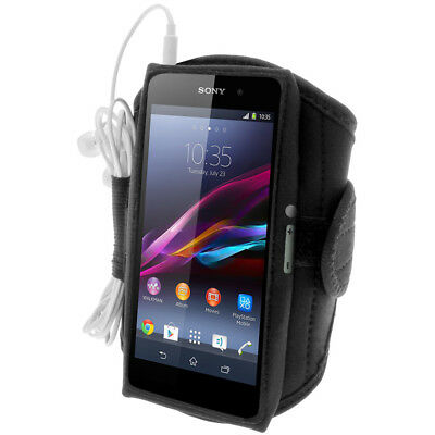 Black Water Resistant Sports Gym Jogging Armband For Sony Xperia Z1 Honami C6902 • 1.99£