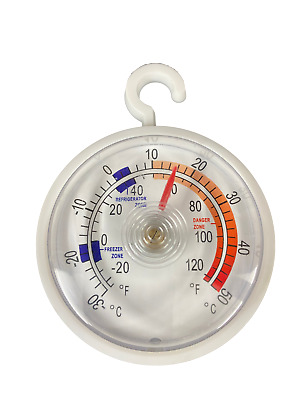 Dial Fridge/Freezer Thermometer/Kitchen Appliance - With Hanging Hook Must Have • 1.89£