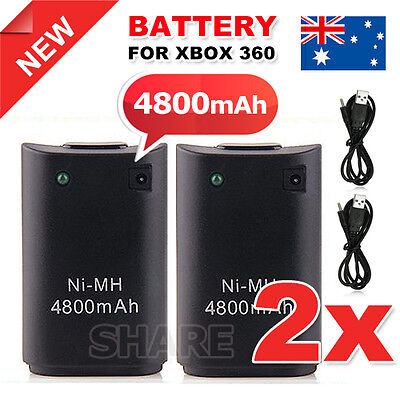 AU9.35 • Buy OZ Just For Xbox 360 Rechargeable Battery Pack Wireless Controller USB Cable 2X