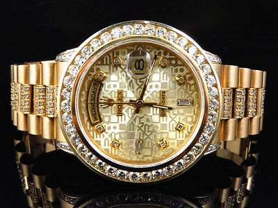 $ CDN26317.20 • Buy 18k Yellow Gold Mens Rolex Presidential Day-Date Diamond Bezel Watch 9.5 Ct