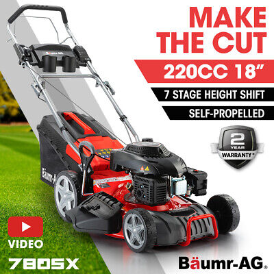 AU409 • Buy Baumr-AG 18  Self-Propelled Lawn Mower 220cc 4-Stroke Petrol Push Lawnmower