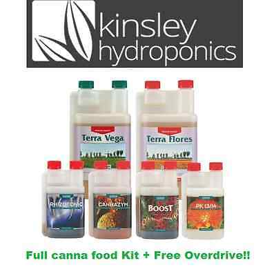 Canna 250ml Full Kit + Free Overdrive Hydroponics PK Rhizotonic Zym Boost Terra • 77.99£
