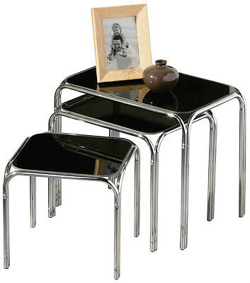 Nest Of 3 Tables Black Glass Chrome Legs Side Tables Home Office Furniture New • 47.99£