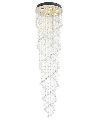 £169.98 • Buy Modern Double Spiral Clear Crystal Droplet 186CM Long Chandelier Ceiling Light
