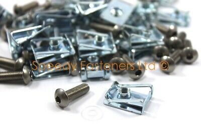 Motorcycle Fairing StainlessStd Bolts M6 6mm & Spire Speed C Clips Nuts25 Qty. • 11.99£