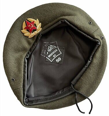 £10.99 • Buy USSR Soviet Russian Army Style Khaki Military Beret Hat Cap Special Force Badge
