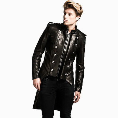 Mens Black Leather Tailcoat Gothic Victorian Steampunk Military Style Jacket • 365£