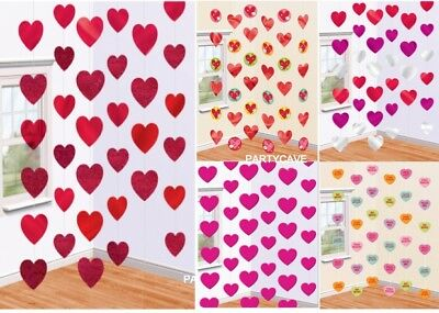 Valentines Day 6 Hanging Red Pink Love Heart Party Strings Engagement Decoration • 3.89£