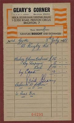 Brighton. 1958. Geary's Corner. 1 Clyde Road, Second Hand Furniture   Zh.124 • 4.99£