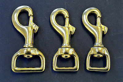 £3.75 • Buy 16mm 20mm 25mm Solid Brass Heavy Duty Trigger Hook/Clip Dog Leads Horse Leather