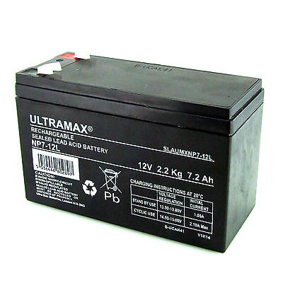£16.49 • Buy NP7-12L, 12V 7.2AH Ultra Max Lead-Acid Battery With 6.3mm Connection