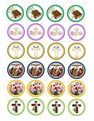 £3.75 • Buy 24 Icing Cake Toppers Decorations Religious Happy Easter ND1 Jesus Cross Risen