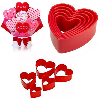 5 Cookie Cutter Mould Biscuit Mold  HEART Shape Plastic Pastry Bake Love Baking  • 5.97£