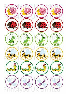 24 Icing Cake Toppers Decorations Insects Butterfly Caterpillar Ladybird ND2 • 3.75£