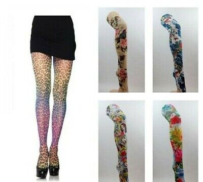 Patterned Tights Printed Funky Alternative Tattoo  Suspender Bright Fun Colours • 8.95£