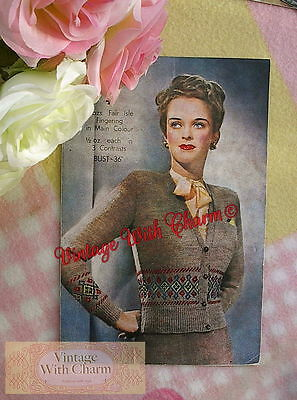 Vintage Knitting Pattern 1940s Lady's 'Classic' Cardigan With Fair Isle Borders. • 2.99£