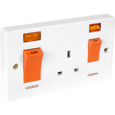 £23.25 • Buy NEW Crabtree Cooker Switch And Socket 45A 13A Neon DIY