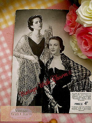 £2.99 • Buy Vintage 1940s Knitting Pattern For 2 Fabulous Evening Wear Shawls And Stole