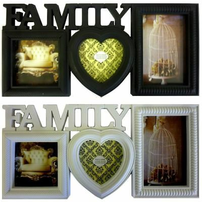£5.99 • Buy Decorative Family Photo Frame Multi Picture Wall Hanging Heart Aperture Holder