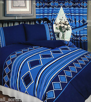 Men Only Nautical Blue Navy White Diamonds Stripe Squares Double Bed Duvet Set • 16.99£