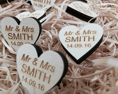 Personalised Wooden Heart Table Decorations Rustic Vintage Wedding Favours. 6m • 4.99£