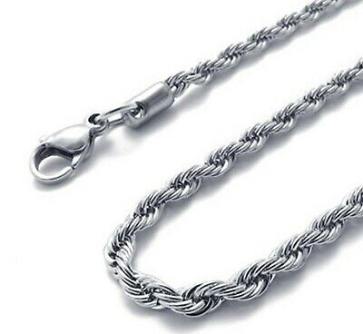 2.4mm Stainless Steel Chain - 18  To 36   Mens Womens Rope Chain Silver Necklace • 6.49£