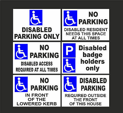 £3.99 • Buy DISABLED NO PARKING A5 Signs Or Stickers Badge Holders Only Lowered Kerb Access