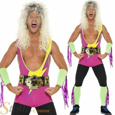 £26.99 • Buy Mens Wrestler Fancy Dress Costume Bodysuit WWF 80s 90s Adult Stag Do Outfit