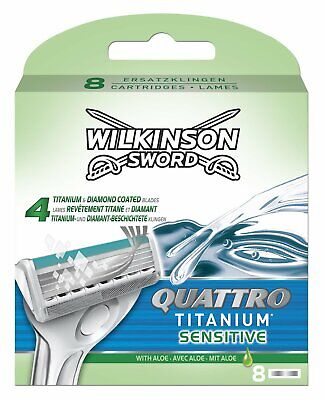 Wilkinson Sword Quattro Titanium Sensitive Mens Razor Blades 8 Pack Genuine • 8.19£