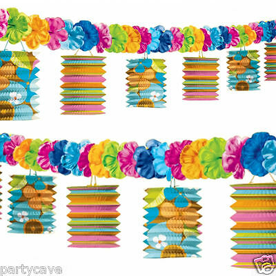 Tiki Hawaiian Tropical Beach Party Paper Garland Lanterns Lei Flower Decorations • 5.49£