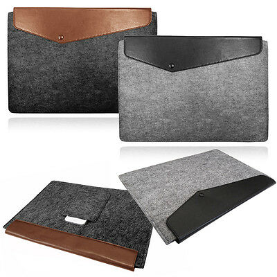 $11.11 • Buy Smart Laptop Felt Sleeve Case Cover Bag With Leather FLAP For Apple Macbook