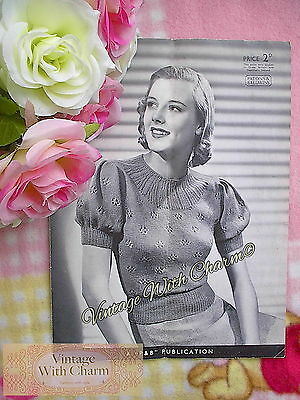 £2.99 • Buy Vintage 1940s Knitting Pattern Lady's Lace & Ribbing Jumper. Fit 33  Bust