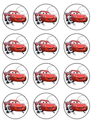 12 LIGHTNING McQUEEN Edible Cupcake Topper Icing Image Birthday Cake Decoration  • 5.43£