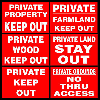 Private Property / Grounds / Farmland / Wood Keep Out / No Thru Access Signs • 4.49£